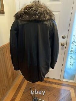 Euc Vtg Marvin Richards Black Leather Jacket Coat Brown/ Silver Tip Fox L Etats-unis