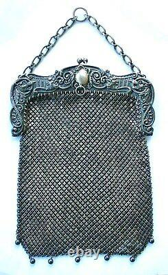 Extraordinaire Sterling Mesh Purse With Faces Large Wow