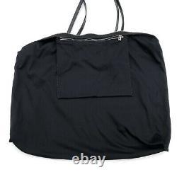 Fendi Vintage Silver Logo Black Tote Bag Bracelets Réglables En Cuir Authentique