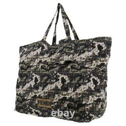 Fendi Zucca Pattern Camouflage Sac À Main Nylon Noir Italie Vintage Auth #yy166 Y