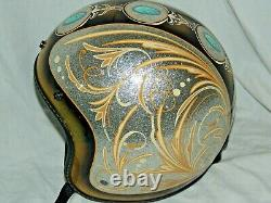 Fulmer V2 Gold Silver Flake LIL Dame Custom Pinstriped Painted Turquoise Helmet