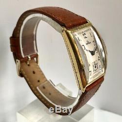 Gents Vintage Omega Or Jaune 18 Carats Solide Réservoir Grandes Années 1940 Belle Art Déco