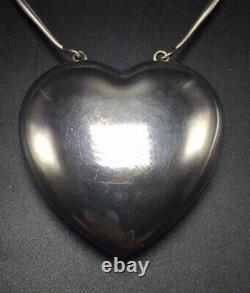 Georg Jensen Danemark Vintage Sterling Silver Extra Large Joy Heart Collier 126