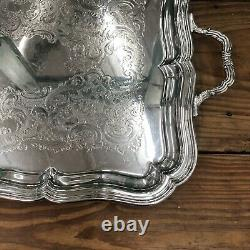 Gorham Stamped Large Vintage Silverplate Butler's Waiter's Tray With Handles