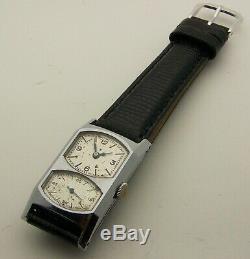 Grand 2 Cristal Inhabituel Chrome Vintage 1940 Double Gallet Cadran Doctor