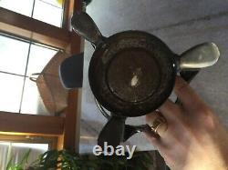 Grand 6, Antique-vintage, Boule De Cristal Avec Silver Support Métal