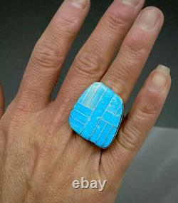 Grand Anneau D'incrustation Turquoise D'argent Sterling D'amérique Sterling De Navajo De Cru