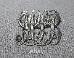 Grand Antique 1800s Orné Victorian Fait Main Sterling Broche D'argent Initial