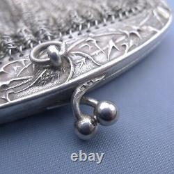 Grand Art Nouveau Sterling Silver Thistle Mesh Purse / Portefeuille Antique Chatelaine