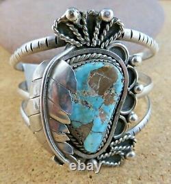 Grand Bleu Turquoise Squash Blossom Sterling Silver Vintage Cuff Bracelet #203