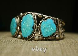 Grand Bracelet De Manchette En Argent Turquoise Turquoise Navajo Amérindien Vintage