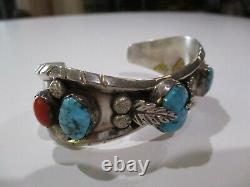 Grand Bracelet De Manchette Turquoise Sterling Silver Navajo Indian Vintage 925 Coral