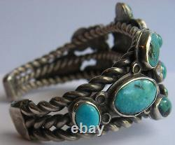 Grand Bracelet De Manchette Vintage Navajo Indian Silver Deluxe Turquoise Pour Homme
