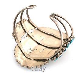 Grand Bracelet De Manchette Vintage Sterling Silver Turquoise Cluster Old Signé E S/s
