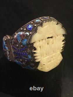 Grand Bracelet En Émail Argenté Chinois Vintage Et Bracelet Jade