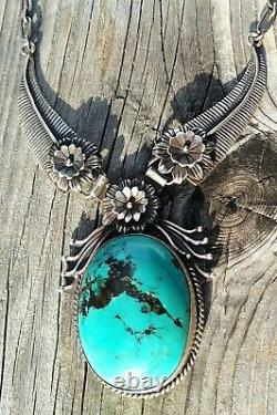 Grand Collier De Plumes Turquoise Vintage Navajo Sterling Silver 82.1 Grammes