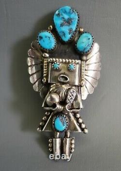 Grand Cru Navajo Amérindien 925 Sterling Silver Kachina Pendentif Broche