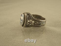 Grand Homme Antique Argent Filigree Émail Memento Mori Ring Sz 12,5