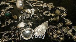 Grand Lot D'argent Sterling Vintage. 925 Bagues De Bijoux Portables Bracelet De Pièce Est