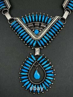 Grand Millésime Navajo Sterling Argent Vif Bleu Turquoise Panneau Collier Bib Wow