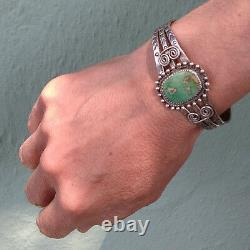 Grand Poignet Vintage Indien Navajo Hommes Argent Vert Turquoise Bracelet