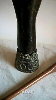 Grand Vintage Argent Sterling Prata 900 & Bois Sculpté Figa Main Pour Bureau Bahia