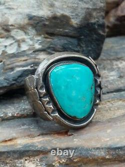 Grand Vintage Argent Sterling Turquoise Mens Ring Navajo Native Southwestern