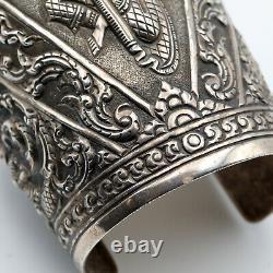Grand Vintage En Argent Sterling Siam Thai Dancer Bracelet 94.5g
