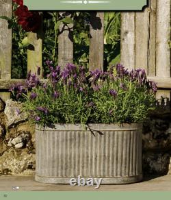 Grand Vintage Galvanisé Métal Côtelé Ovale Planteurs Plantent Pot De Fleur