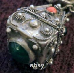 Grand Vintage Italie 800 Silver Etruscan Cannetille Fob Bracelet -1 Ouvre, 54 Grm