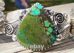 Grand Vintage Navajo Sterling Silver Heavy Number 8 Mine Turquoise Cuff 70.5 Gr