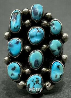 Grand Vintage Navajo Sterling Silver Kingman Turquoise Cluster Ring 12 Grammes