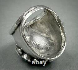 Grand Vintage Navajo Sterling Silver Turquoise Cluster Dome Ring Stunning