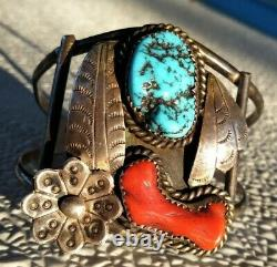Grand Vintage Sterling Silver Navajo Turquoise/red Coral Cuff Bracelet 39 Grammes