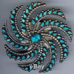 Grand Vintage Zuni Indien Argent Sculpté Turquoise Swirl Galaxy Broche
