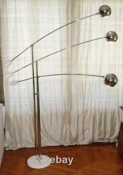 Grand Vtg Sonneman Chrome Orb Lampe De Sol À Bille. 3 Armes Et Poignées Réglables. Royaume