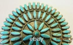 Grand Vtg Zuni Signé Sterling Silver Petit Point Turquoise Pendentif Pin/broche