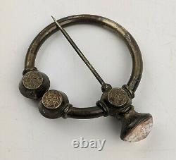 Grande Antique Scottish Silver Penannular Brooch Faceted Rose Stone C19th Celtic