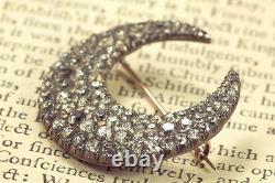 Grande Antique Victorienne Anglaise Silver Gold Paste Crescent Moon Broche Pin C1850