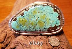 Grande Boucle De Ceinture Signée Vintage Navajo Sterling Silver Number 8 Turquoise
