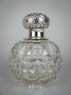 Grande Bouteille D'argent Sterling Et De Verre Coupé Par William Hutton & Sons, 1902