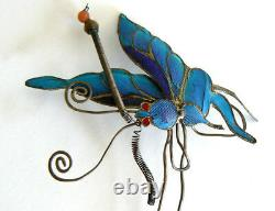 Grande Dynastie Qing Kingfisher Plume Hair Pin Antique Vintage Chinois 19ème