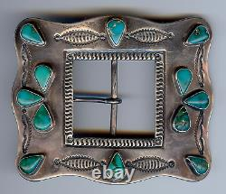 Grande Grande Boucle De Ceinture Turquoise D'argent Indien De Navajo De Grand Cru