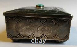 Grande Vintage Navajo Indian Silver & Turquoise Stamped Thunderbirds Box