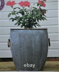 Grands Planteurs Ronds Galvanisés De Métal Copper Rim Vintage Plant Flower Pot Garden