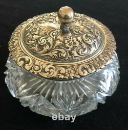Hamilton Diesinger Large Vintage Sterling Silver Repousse Cut Crystal Powder Jar