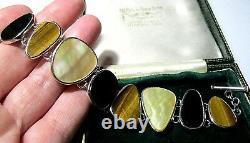 Heavy Vintage Hallmarked Sterling Argent Pierre Gemme Naturelle Grand Bracelet Signé