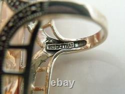 Huge Vintage Art Déco Style Sterling Silver 925 Couture Statement Large Ring 7