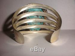 Incroyable Turquoise Vintage Grand Bracelet En Argent Sterling Navajo