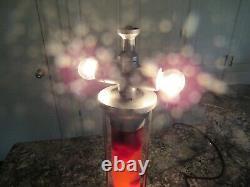 Lampe De Bureau Vintage Lava 18.5 Argent Base Deep Red Wax Clear Liquide